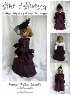 Five 18in Doll Historical Sewing Pattern by frivolousdistinction, $22.00