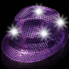 Glimmer and shine, and light up the night with our sequin funky fedora.   This fabulous new light up item will make your night time parties bright.  Our sequin LED funky fedora comes with 6 white LED's and 3 AG13 batteries are included and installed and can be replaced.  Use for holiday parties, Sweet 16s, birthdays, bat Mitzvah or anything that fits your color scheme. One size fits most. Sold by the piece.  Please order in increments of 1 piece.