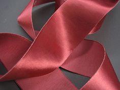 "10 yard roll 3/"" wide dark red vintage single faced satin rayon ribbon dress"