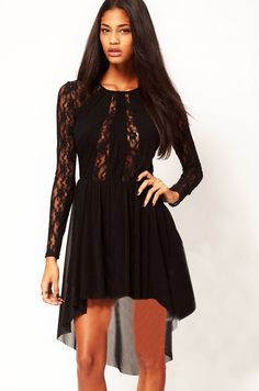 Long Sleeve Sheer High Low Lace Dress