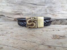EXPRESS SHIPPING,Braided Leather Bracelet,Black High Quality Leather Bracelet,Mens Dragon Bracelet,Magnetic Clasp Bracelet,Father's Day Gift by ClassyMen on Etsy