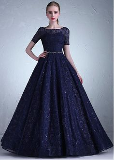 Dressilyme Modest Lace Scoop Neckline Full-length A-line Evening Dress With Belt & Beadings Evening Gowns With Sleeves, A Line Evening Dress, Long Gown Dress, Prom Dresses With Sleeves, Evening Dresses, Full Length Dresses, Long Gowns, Gown Party Wear, Indian Gowns Dresses