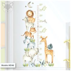Animal Wall Decals, Kids Wall Decals, Nursery Wall Decals, Baby Room Wall Stickers, Baby Room Design, Baby Room Decor, Washable Paint, Paper Animals, Charts For Kids