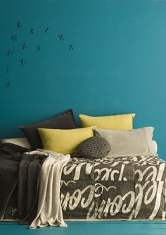 neutrals for a teal wall, swap out lilac for the mustard