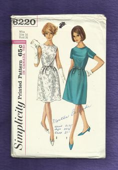 1965 Simplicity 6220 Chevron Detailed Bodice Dress with Soft Pleated Skirt Size 16