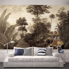 47 ideas for white wallpaper living room wall murals Scenic Wallpaper, Interior Wallpaper, Fabric Wallpaper, Wall Wallpaper, White Wallpaper, Home Theaters, Pale Dogwood, Living Colors, Grisaille