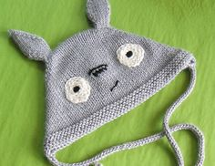 Ravelry: Free knitting pattern for Totoro hat by Adrian Bizilia Baby Hat Knitting Patterns Free, Baby Hats Knitting, Knitted Hats, Crochet Patterns, Free Knitting, Free Pattern, Totoro Hat, Knit Crochet, Crochet Hats