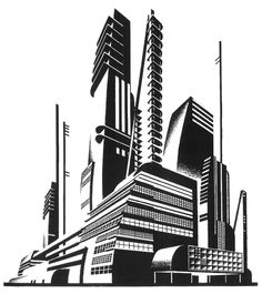 Images of futuristic art deco - Architecture Graphics, Futuristic Architecture, Art Deco, Retro Futuristic, City Landscape, Gravure, Art Drawings, Abstract, Modernism