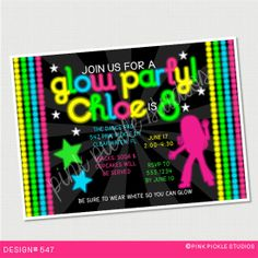 Glow In The Dark / Neon Girl Birthday Invitation or Thank You Card. Custom Personalized DIY Party Printables / Design No. 547
