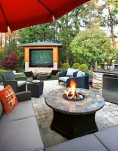 Outdoor TV area. Perfect for watching Phillies games outside in the summer!