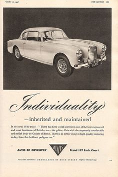 Alvis of Coventry cars, advert in The Motor, 1956 by mikeyashworth, via Flickr