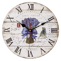 SkyNature Large Decorative Wooden Wall Clock with Roman Numerals for Lover (12 inch Lavender)  #Clock #Decorative #Inch #Large #Lavender #Lover #Numerals #Roman #RusticWallClock #SkyNature #Wall #Wooden The Rustic Clock