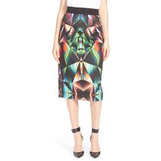 Milly Prism Print Midi Skirt ($325) ❤ liked on Polyvore featuring skirts, multi, geometric print skirt, geometric skirt, pattern skirt, print skirt and midi skirt