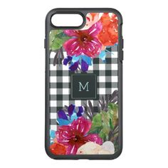 #monogram - #Watercolor Floral and Black Gingham with Monogram OtterBox Symmetry iPhone 7 Plus Case