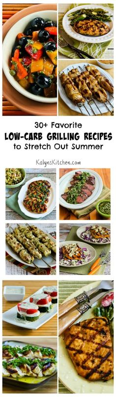 Make summer start earlier and last longer with these 30+ Favorite Low-Carb Grilling Recipes!  The recipes are all low-carb, gluten-free, and South Beach Diet friendly, and most are Paleo. [found on KalynsKitchen.com]