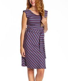 Plum & Cornflower Stripe Organic Belted Dress - Women #zulily #zulilyfinds