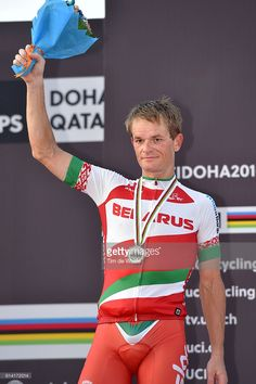 89th Road World Championships 2016 / Men Elite ITT Podium / Vasil KIRYIENKA (BLR) Siver Medal Celebration / Lusail Sports Complex - The Pearl Qatar (40km)/ Individual Time Trial / WC /