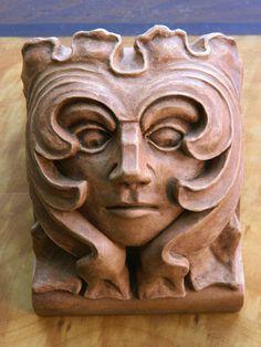 Green Women Corbel- Parliament House-wood/ terra cotta finish-Victorian Gothic architectural ornament-Cast Shadows Studio- Richard Chalifour