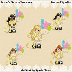 Third Birthday Girl in Yellow Dress #Clipart