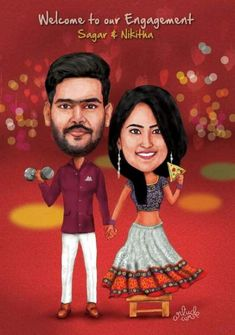 Caricature Standy for Engagement Party. Caricature Standy for Engagement Wedding Party Invites, Creative Wedding Invitations, Indian Wedding Invitations, Wedding Games, Wedding Couples, Party Invitations, Invitation Ideas, Wedding Albums, Wedding Crafts
