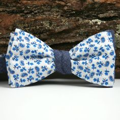 1950s Mini Blue Floral and Italian Chambray Bow Tie - vintage bow ties handmade in the United States