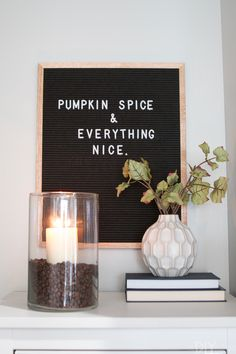 How to add small touches of fall decor throughout your home, without spending too much time or money. We love these easy seasonal ideas to add in a bit of fall to your house.  Especially love this pumpkin spice coffee candle and the cute letter board!