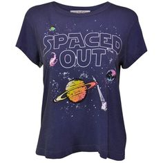 Wildfox Spaced Out No9 Tee (£50) ❤ liked on Polyvore featuring tops, t-shirts, tee-shirt, long-sleeve crop tops, galaxy t shirt, cropped shirts and crew t shirt