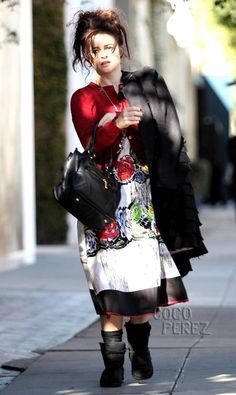 Helena Bonham Carter Brings Her Bag Lady Style To The Streets Of WeHo | CocoPerez.com