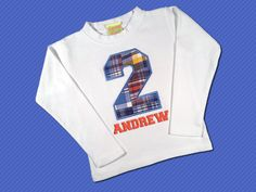Birthday Boy's Blue Plaid Number Top with by SunbeamRoad on Etsy, $22.50