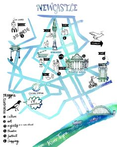 Newcastle City Illustrated Map