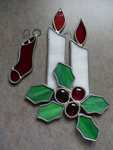 2 Christmas Suncatchers Real Stained Glass Double Candle w Holly Stocking