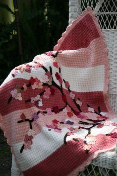 Crochet Cherry Blossom Blanket