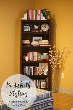 Bookshelf Styling - Coffee Beans and Bobby Pins
