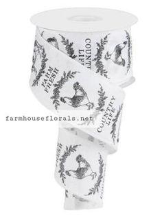 "2.5""X10 yd Farm Fresh Farm Animal Ribbon Christmas Gifts For Mom, Plaid Christmas, Dark Beige, Light Beige, Wreaths For Front Door, Door Wreaths, Wired Ribbon, Farm Animals, Farmhouse Decor"