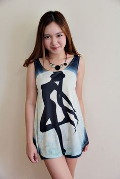Sailor Moon Indie Punk Printed Sleeveless Singlet Tunic Top Dress. This would be soo cute with jeans shorts!