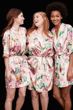 Floral robes make for cute wedding photos while you're getting ready with your bridesmaids! Available at David's Bridal.