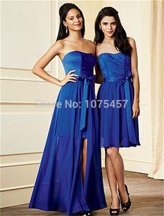 Latest Design Royal Blue Bridesmaid Dress with Sashes 2015 Elegant Long Party Dress A Line Chiffon Vestido De Madrinha MB450