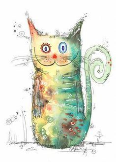 About Clarissa - Crazy cat! # Crazy – by Clarissa Hagenmeyer – www. Watercolor Animals, Watercolor And Ink, Watercolor Paintings, Watercolors, Cat Drawing, Painting & Drawing, Motifs Animal, Creation Art, Illustration Art