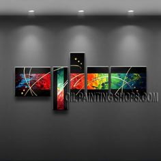 Primitive Modern Abstract Painting Artist Oil Painting Stretched Ready To Hang Abstract. This 5 panels canvas wall art is hand painted by A.Qiang, instock - $175. To see more, visit OilPaintingShops.com