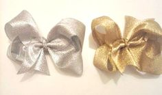 Hey, I found this really awesome Etsy listing at https://www.etsy.com/listing/252223977/gold-hair-bows-silver-hair-bows-set-of