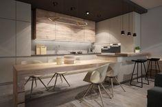 aménagement d'intérieur -cuisine-contemporaine-armoires-table-bois-massif-clair-parquet