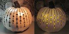 A painted pumpkin (pearl), dremel cut circles, sharpie marker.