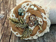 """Купить Бохо-брошь """"Настроение Август..."""" - брошь, текстиль, украшение, оригинальное, подарок подруге"""