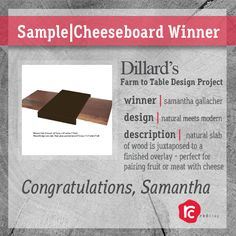 Congratulations Samantha Gallacher!  Her Natural meets Modern cheeseboard design is our favorite design of the day.  She won an Adobe gift card and a good chance at making the juried list of designs, I'd say...    3 Days left to submit your design