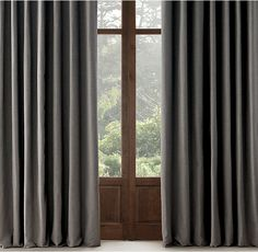 """RH has nice drapes and 120"""" long, that is the length we need correct? Perennials® Textured Linen Solid Drapery"""