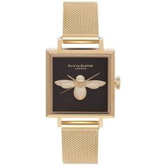 Square Dial 3d Bee Gold by Olivia Burton (255 CAD) ❤ liked on Polyvore featuring jewelry, gold, honey bee gold jewelry, gold bee jewelry, bumble bee jewelry, gold jewelry and yellow gold jewelry