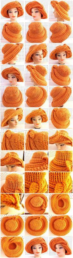 Crochet FRONTIER SUN Wide Brim Hat in Desert Glaze Orange by RuthDyson