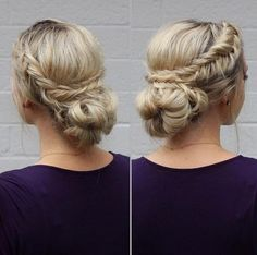 view from the left & right by anniesforgetmeknots. Two dutch fishtail braids wrapped around a messy bun.