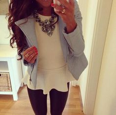 White shirt, chunky necklace, black skinnies, jacket combo! ~k