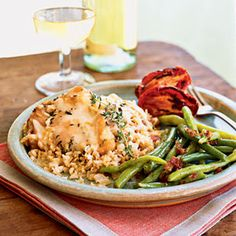 Parmesan Chicken and Rice Casserole by Cooking Light. This Parmesan Chicken Rice Casserole is absolutely delicious weeknight comfort food. Garnish the dish with a thyme sprig, if you like. Healthy Chicken Casserole, Rice Casserole, Casserole Recipes, Turkey Recipes, Chicken Recipes, Chicken Meals, Duck Recipes, Cheesy Recipes, Slow Cooker